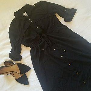 MOTHERHOOD Maternity Black shirtdress, sz M